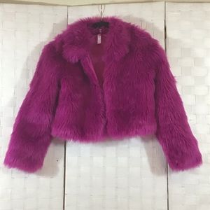 Xhilaration Faux Fur Retro Purple Jacket In Large